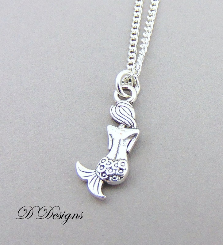Silver Mermaid Necklace Silver Charm Necklace Mermaid Charm