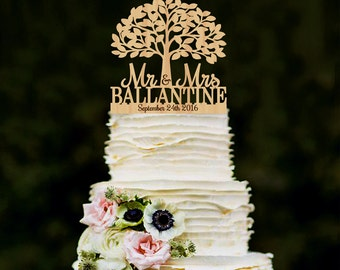 Mr Mrs Wedding Cake Topper with Tree Personalized Wood Cake Topper Wooden Rustic Cake Topper Last name topper