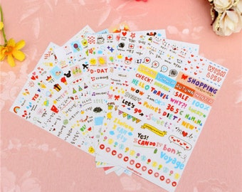 Cute Planner Stickers (6 sheets) / Cute Stickers / Korean Stationery / Cute Stationery / Cute School Supplies / Kawaii Stickers