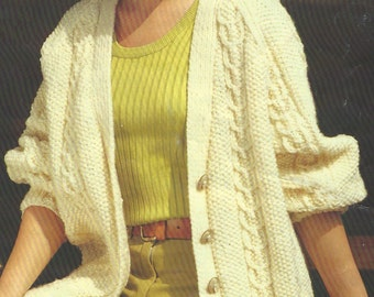 Ladies v-neck Aran Cardigan with cables small-large  PDF Knitting Pattern
