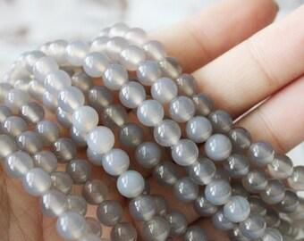 6mm Gray Agate Beads Round - Full Strand Genuine Gemstone AA