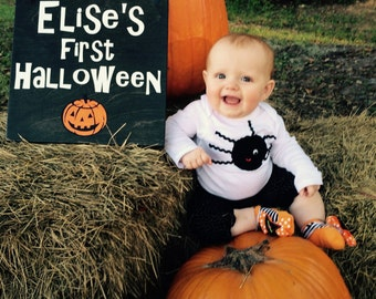 Personalized Baby's First Halloween Sign. DOUBLE SIDED Solid wood, Hand Painted Sign. Custom Made - Options Available!!