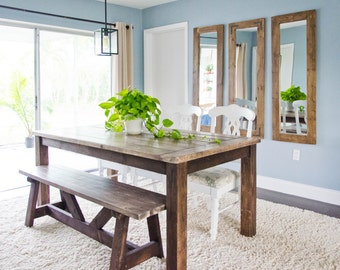 farmhouse dining table rustic dining table wood farmhouse dining table - Rustic Dining Set