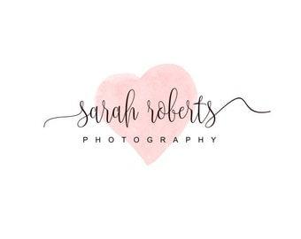 Watercolor Logo Design, Photography Logo, Premade logo, Wedding Logo, Wedding Photography Logo, Watercolor logo, Heart logo design,