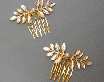 Gold Hair Comb, Wedding Headpiece, Leaf Head Piece, Bridal Headpiece, Pearl and Leaf Hair Accessory, FIONA