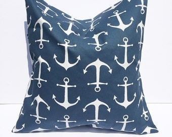 Throw pillow accent pillow cover navy and white throw pillow cover anchor pillow cover anchor home decor decorative throw pillow cover navy