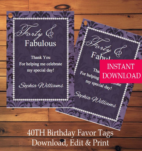 40th Birthday Favor Tags-Birthday Gift Tag-Birthday Tag-Printable-Instant Download-Printable Tag