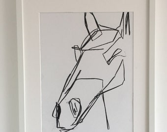 Original abstract drawing of Horses Head 3