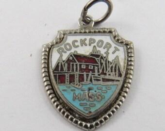 Enameled Rockport Massachusetts Travel Shield Sterling Silver Pendant or Charm.