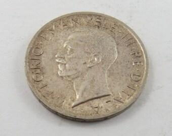 Italy 1927 Silver 5 Lire Coin.