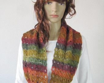 Handmade crochet multi colour scarf