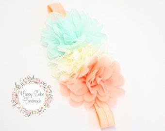 Baby Headband, Newborn Headband, Aqua Ivory Peach, Flower Girl Headband, Baby Photo Prop, Peach Headband, Ivory Headband, Aqua Headband
