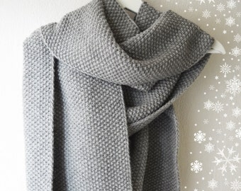 Large wool and alpaca hand knitted grey scarf