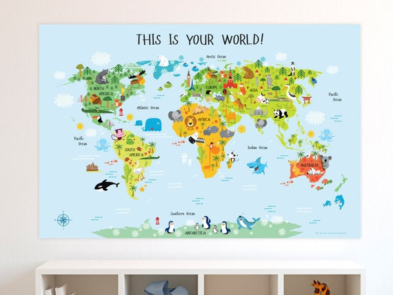 Unique Baby Gift Childrens World Map Poster Nursery By