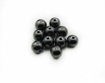 8mm Hematite Beads, Hematite Beads, DIY Craft Supplies, Jewelry Making, 10 pcs Round Hematite Beads, Non Magnetic