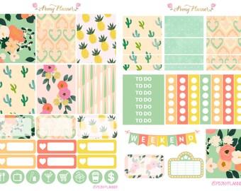 Floral Sorbet Weekly Planner Sticker Kit for use with ERIN CONDREN LIFEPLANNER™, Happy Planner, Travelers Notebook etc