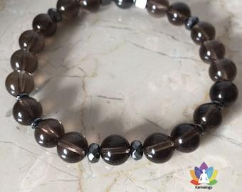 Smoky quartz and hematite bracelet.