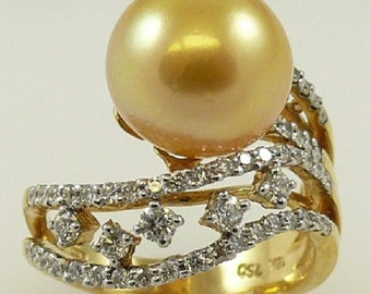 South Sea Golden 11.2mm x 11.4mm Pearl Ring 18K Yellow Gold with Diamond 0.69ct