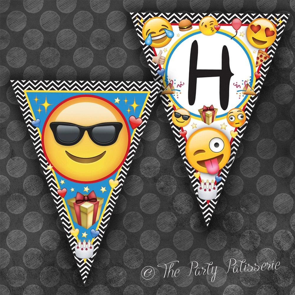 Emoji Happy Birthday Banner Triangles / Instant Download