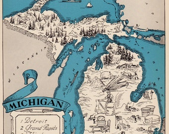 30's Whimsical MICHIGAN Map of Michigan State Map Print Travel Gallery Wall Art Library Office Decor Gift for Traveler Wanderlust Decor