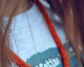 Orange necklace, orange necklaces of beads, orange