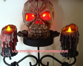 Creepy Skull Bleeding Candles Candelabra