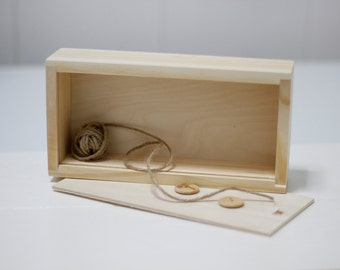 Wooden box, unfinished wooden box, wooden box for accessories, jewelry box, 18 x 8 x 3,5 cm