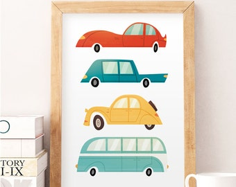 cars wall art kids cars print children wall decor wacky cars art - Cars Pictures To Print