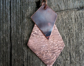 Hammered Copper Geometric Necklace