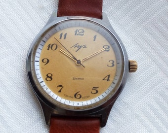 LUCH (RAY) 2209, luch watch, GOLD Plated movement 23 Jewels Calibr # 2209 made in Ussr
