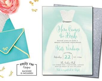 Wedding Dress Bridal Shower Invitation, Shower Invitation, Wedding Dress Invitation, Here Comes the Bride Bridal Shower Invite