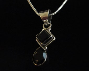 Earthy, Square and Drop, Black Onyx Gemstone, Silver Pendant Necklace