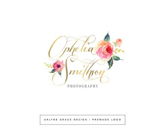 Premade Logo - Watercolor Logo - Predesigned Logo - Photography Logo - Floral Logo - Flower Logo - Gold Logo - Feminine Logo - Branding Kit