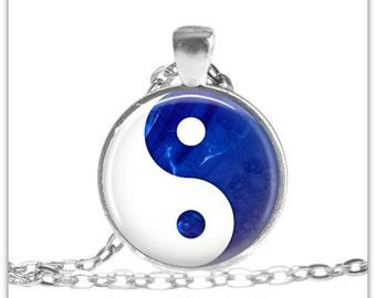 Cobalt Blue Yin Yang necklace Yin Yang Pendant Spiritual Jewelry Yoga Gift 193