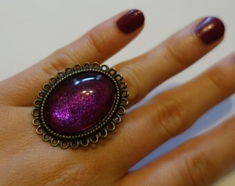 Pink, purple, oval, handmade ring, one of a kind.