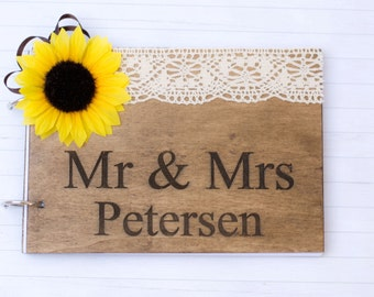 Rustic  Guest Book Wooden Guest book Wedding Personalized guestbook Country Wedding Decoration Reception wedding book