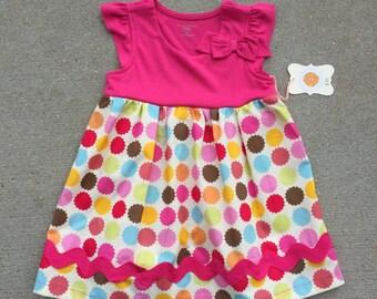 Girls Tank Dress - Pink tank with polka dot print