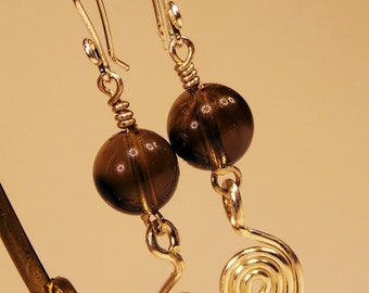 handmade earrings smoky quartz stones with spirals of silver plated copper wire