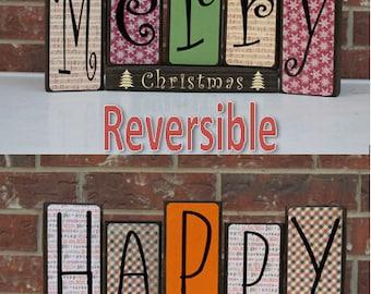 Double Sided Blocks Christmas Decor Thanksgiving Decor