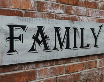 Family Sign, Wall Sign, Wooden Family Sign, 12X42