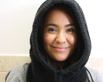 Knit Hood, Hooded Scarf, Crochet Cowl, Hood Scarf,  Crochet Hood Scarf, Knit Cowl  Color : Black