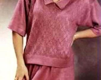 8 Lacy Top with Tubular Skirt (Audio Tutorial for Passap DUO 80 & E6000 Knitting Machine) Short-Cut Shapings (R)