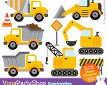 CONSTRUCTION Clipart, Printable, Instant download, PNG files, truck clipart, truck png, crane clipart, crane png, children clipart, C#010