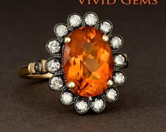 Madeira Citrine Ring, flower Ring, Diamond Ring, Daisy Flower Ring, 14k yellow gold ring