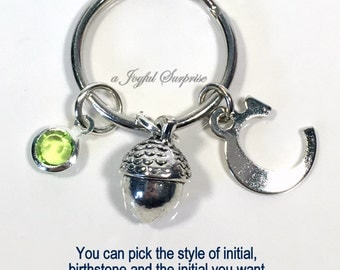 Personalized Acorn Keychain, Acorn Keyring, Silver Charm, Acorn Gift, Hazelnut Key Chain Pewter Nut Keychain Silver initial birthstone 13