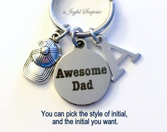 Baseball Dad Keychain, Awesome Dad Key Chain, Gift for Father's Day Present, Coach Step Keyring Initial Letter Ball Cap Daddy from Kids son