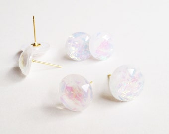 Faceted Resin Fire Opal Studs