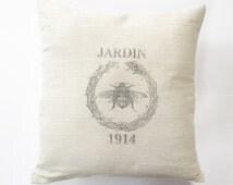 Honeybee Wreath French Grain Sack Pillow Cover - canvas - cotton