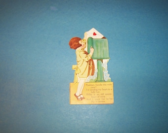 "1920's VALENTINE ""Postman, handle this with care!"" vintage stand up Valentine"