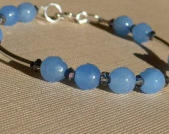 Sterling Silver Bracelet, Blue Bracelet, Bangle Bracelet, Blue Jade Bracelet